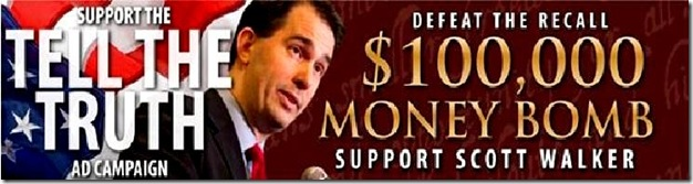 Scott Walker Money Bomb banner