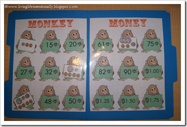 Monkey Money File Folder Game