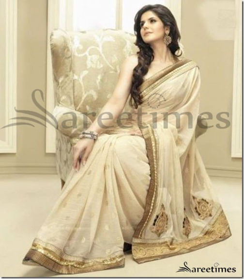 Zarine_Khan_Cream_Saree