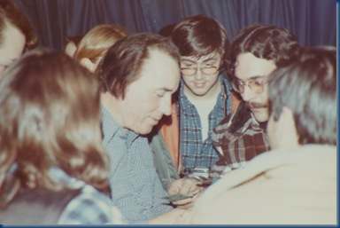 Earl Scruggs signing autographs at the Robins Center, University of Richmond