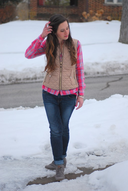 Pink Plaid & Gold Vest