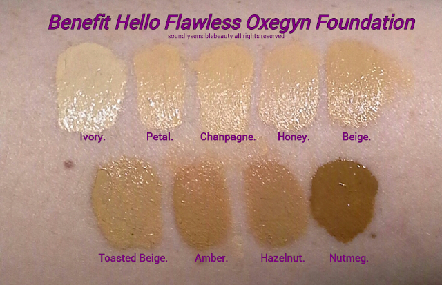 Benefit Hello Flawless Oxygen WOW Foundation SPF 25 Swatches of Shades Ivory, Petal, Champagne, Honey, Beige,  Toasted Beige, Amber, Hazelnut, Nutmeg
