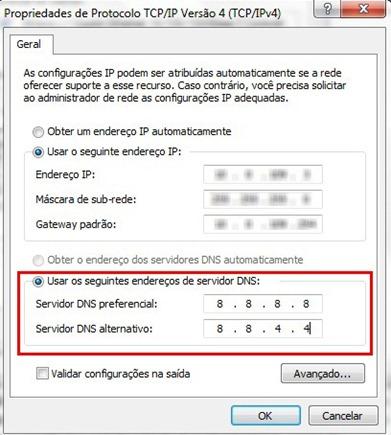 Alterando DNS