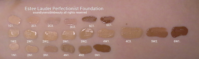 Estee Lauder Perfectionist Youth Infusing Foundation, Swatches of Shades 1C1 Cool Bone, 2C1 Pure Beige, 2C3 Fresco, 3C2 Pebble, 5C1 Rich Chestnut, 6C1 Rich Cocoa 1W2 Sand, 2W1 Dawn, 2W2 Rattan, 3W1 Tawny, 3W2 Cashew, 4W1 Honey Bronze, 4C3 Soft Tan, 5W2 Rich Caramel, 6W1 Sandalwood 1N1 Ivory Nude, 2N1 Desert Beige, 3N1 Ivory Beige, 4N1 Shell Beige, 4N2 Spiced Sand, 5N1 Amber Honey