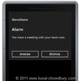 WP7.1 Demo - Alarm Screen