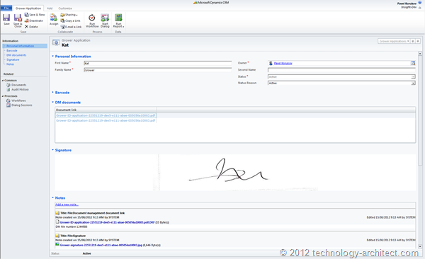 Extracted signature displayed in a custom Silverlight control
