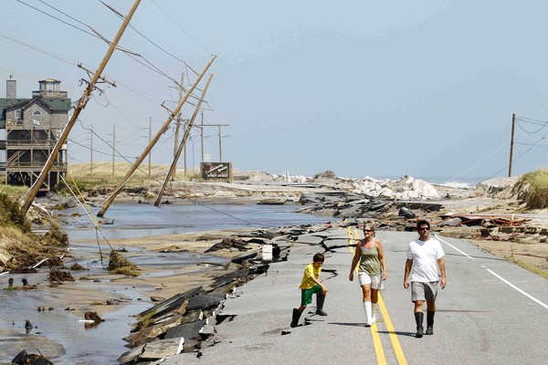 Hurricane Irene left a ravaged Highway 12, the main road connecting Cape Hatteras National Seashore to the North Carolina mainland, 29 August 2011. Jose Luis Magana / Reuters
