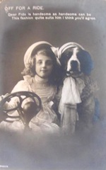 vintage postcard girl w dog in car