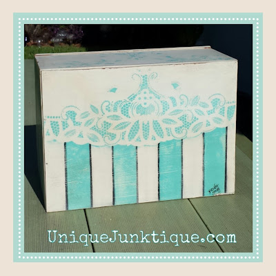 Aqua Chalk Paint Image Transfer Bread Box