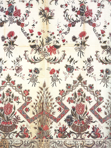 A more muted, scaled-back example of of chintz, circa 1750-1760.