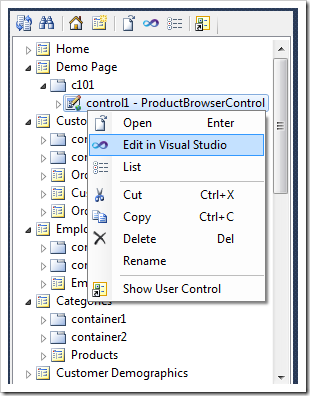 Activating Visual Studio to modify the markup of a user control instance placed in a page container