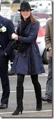 Kate Middleton arrives for the last day of the Cheltenham National Hunt Festival meeting.