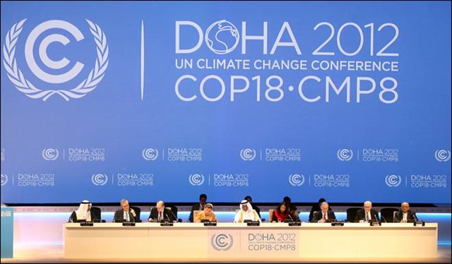 Organizers on stage at the opening ceremony of the 18th United Nations climate change conference in Doha, Qatar, 26 November 2012. Osama Faisal / AP Photo