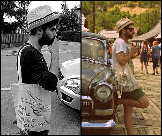 mario medved wearing 3 Ptice hand painted tote