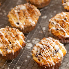 Cornmeal Lemon Blueberry Muffins with Streusel Topping and Lemon Glaze