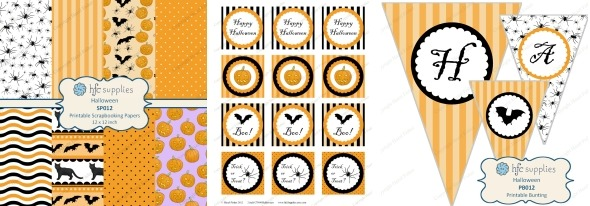 16 October 2014 halloween printables scrapbook paper cupcake toppers bunting hfcSupplies