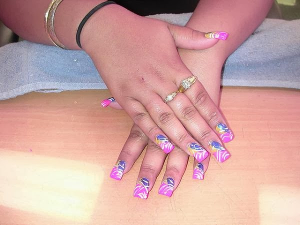 Pink Nails White Stripes With Indigo Base White And Pink Nail Designs