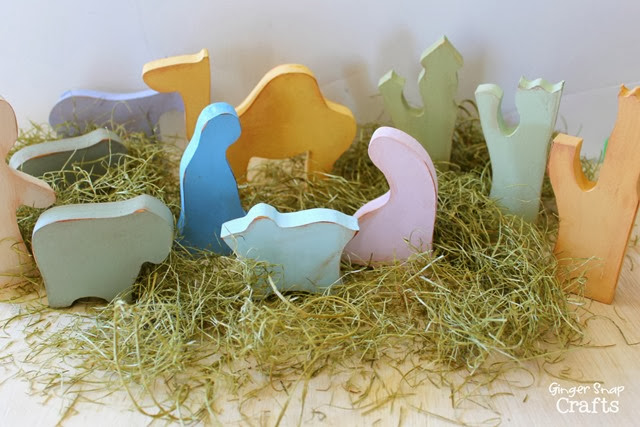 wooden nativity set #decoart #acrylicpaint #ad