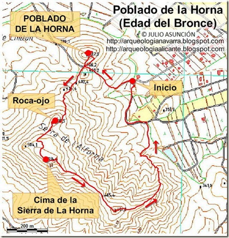 Mapa poblado y sierra de la Horna