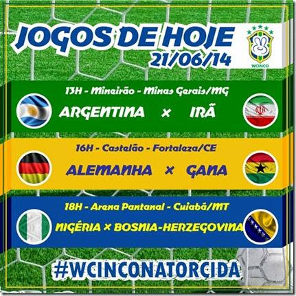 WCINCO - JOGOS DE HOJE 21.06