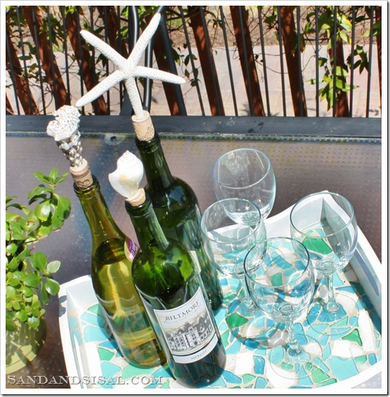 shell bottle stoppers and sea glass mosaic tray