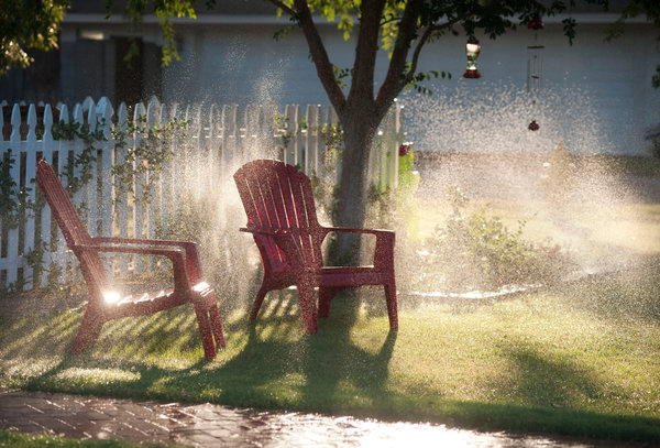Sprinklers water a lawn in Phoenix, Arizona. Half of the water consumed in Phoenix homes is used for irrigating lawns, but the city's per capita consumption still falls below that of cities like Los Angeles. Photo: Laura Segall / The New York Times
