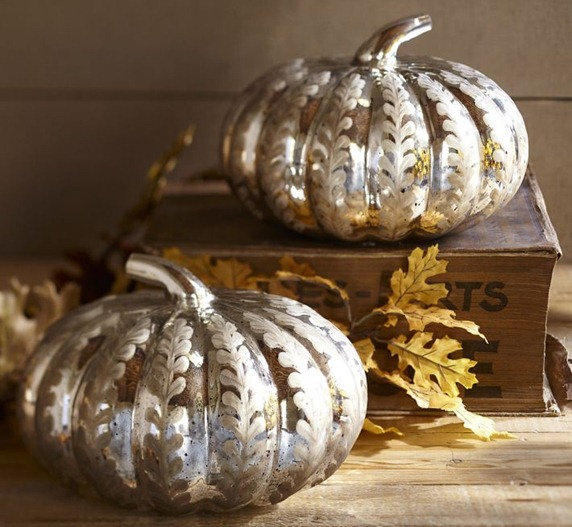 etched mercury glass pumpkin