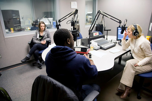 Michel Chikwanine , a former child soldier, tells KSMU's Jennifer Moore his life story. Photo Credit: Alex Crowder
