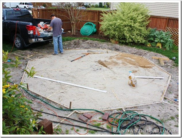Attempting An Octagonal Patio Sand And Sisal - Concrete octagon patio pavers