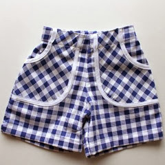 blue & White check shorts front