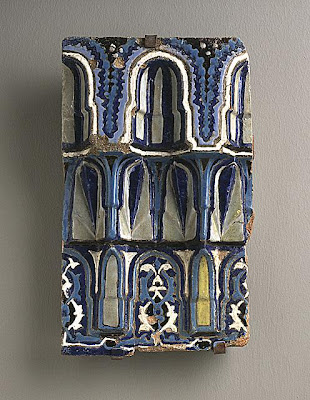 Muqarnas decoration Muqarnas | Origin: Turkey, Bursa | Period:  15th century | Collection: The Edwin Binney, 3rd, Collection of Turkish Art at the Los Angeles County Museum of Art (M.85.237.79) | Type: Ceramic; Architectural element, Earthenware, cuerda seca technique, Height: 13 3/4 in. (34 cm )