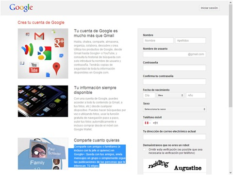 Registro en Google Plus