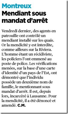 mendiant arrestation
