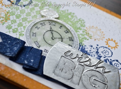 Clockworks, Stampin Up, Masculine Card close