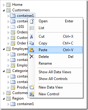 Paste command on 'container1'.
