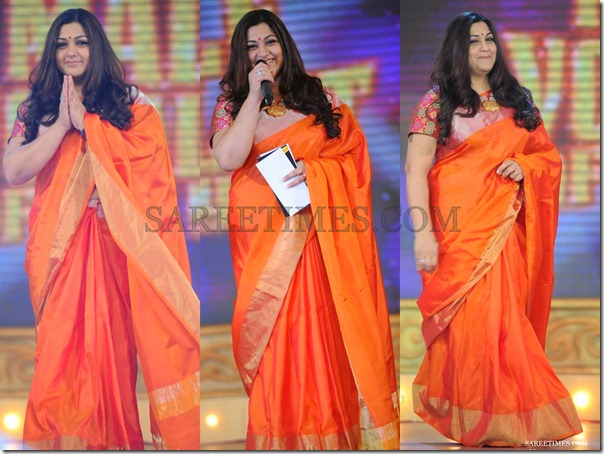 Kushboo_Orange_Silk_Saree