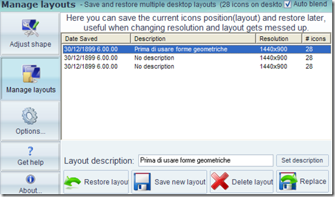 Desktop Modify ripristinare la disposizione delle icone