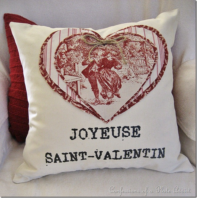CONFESSIONS OF A PLATE ADDICT Ticking and Toile Vintage Valentine Pillow