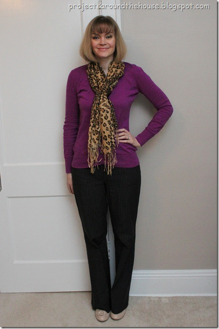cardigan and leopard scarf