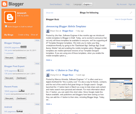 new dashboard blogger