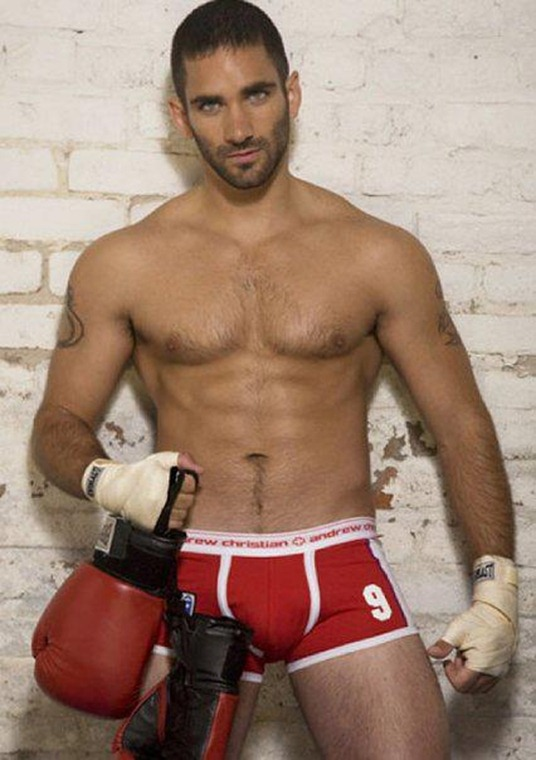boxer in red trunks