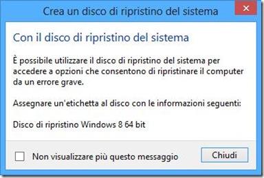 Windows 8 disco di ripristino creato