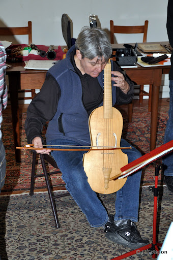 Mary Springfels tries out Alison Crum's early Renaissance viol