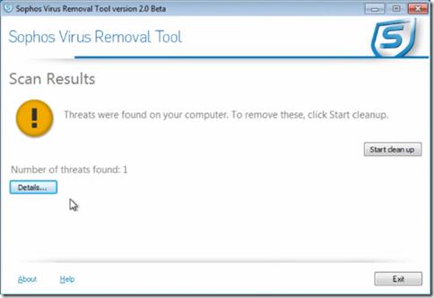 Sophos Virus Removal Tool risultati della scansione virus
