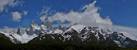 Fitz Roy and glaciers panorama.