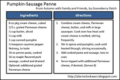 pumpkin-sausage penne recipe card
