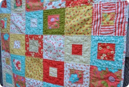 aqua and coral baby quilt