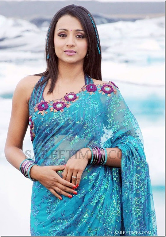 Trisha_Blue_Georgette_Saree