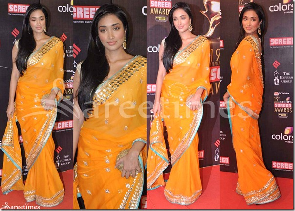 Jiah_Khan_Orange_Saree