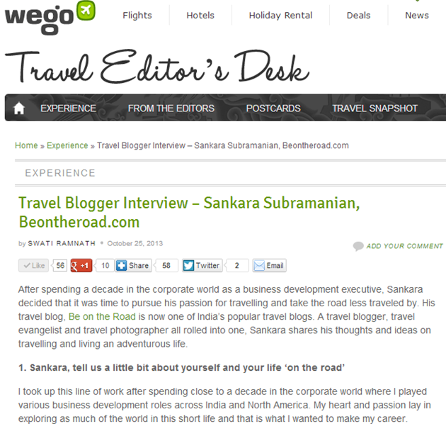 My interview on Wego India